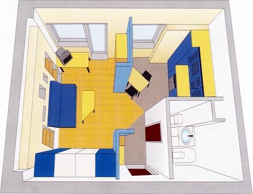 Дизайн в однокомнатной квартире 36 кв.м фото